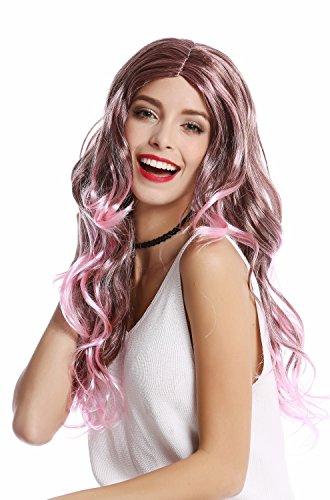 Wig me up ® -91377-za28btza33 parrucca donna carnevale halloween lunga riga in mezzo ondulata mix rosa e castano