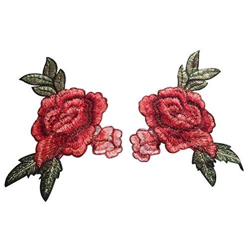 Healifty DIY Blume Nähen auf Patch gestickte Applique Patches Stickerei Nähen Patch 2 Stücke (Rot) (Hose Eisen-polyester)