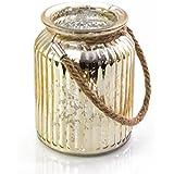 Photophore en verre LAISA avec anse, craquelé or, 14,5cm, Ø10,5cm - Verre à bougies / Vase décoratif - INNA Glas