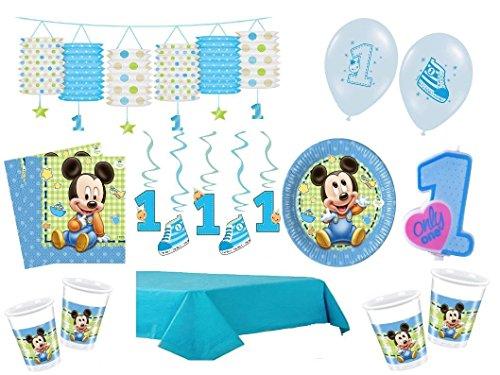 XXL Party Deko Set 1.Geburtstag Mickey Baby Kindergeburtstag für 16 Personen blau Junge (Baby, Geburtstag Party-ideen)