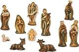 Krippenfigur, Krippenfiguren modern 11-teilig, Holzoptik für 9cm Figuren