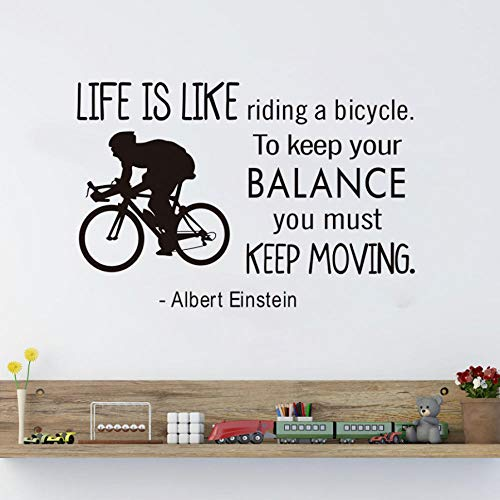 Halten Sie das Gleichgewicht und bewegen Sie sich weiter inspirierend Spruch Wandaufkleber selbstklebende Wandtattoos Büro Dekoration Brief Tapete 87X58CM