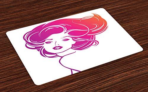 ABAKUHAUS Friseur Platzmatten, Tropical Leuchtende Farben von Lady Figur Posing Haar Modell, Tiscjdeco aus Farbfesten Stoff für das Esszimmer und Küch, Magenta Rosa und Burnt Orange