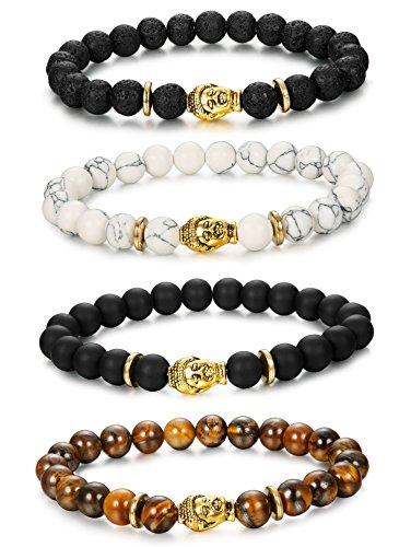 BE STEEL 4 Stück Armbänder Elastisch Herren Damen Armbänder Energie Perlen Schwarz Unisex 8mm (Perlen Schwarz Armband)