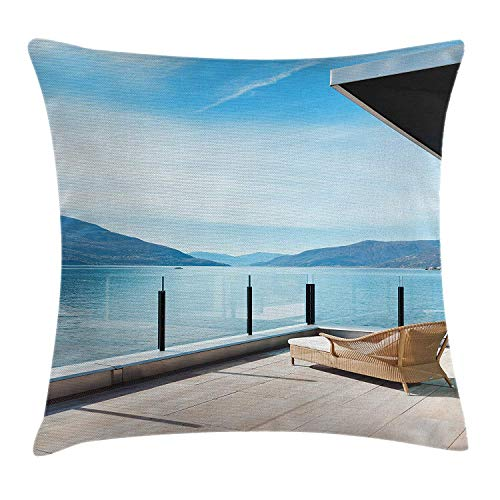 Patio Decor Throw Pillow Cushion Cover, Penthouse Terrace with Ocean Sea and Mountain Landscape Photo, Decorative Square Accent Pillow Case, 18 X 18 inches, Sky Blue Black and White