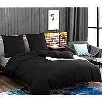 AYSW Sets de Housse de Couettes 220x240cm + 2taies d'oreillers 65x65cm Parure de Lit pour 2 Personnes Noir