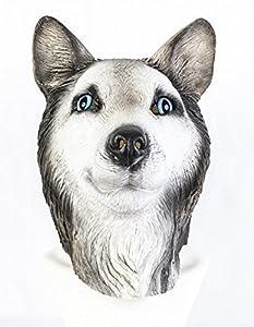 The Rubber Plantation TM 619219293488 - Máscara de látex siberiano, diseño de lobo de malamuto, para perro, canina, animal, Halloween, Huskie, adulto unisex, talla única