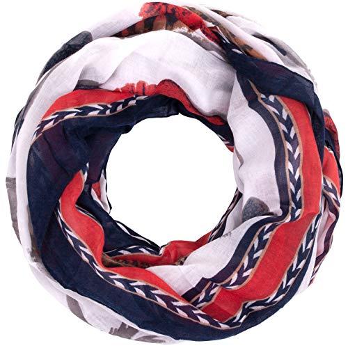 Faera Damen Schal gemalte Federn weicher und leichter Damen Loopschal Rundschal in verschiedenen Farben, SCHAL Farbe:Marineblau
