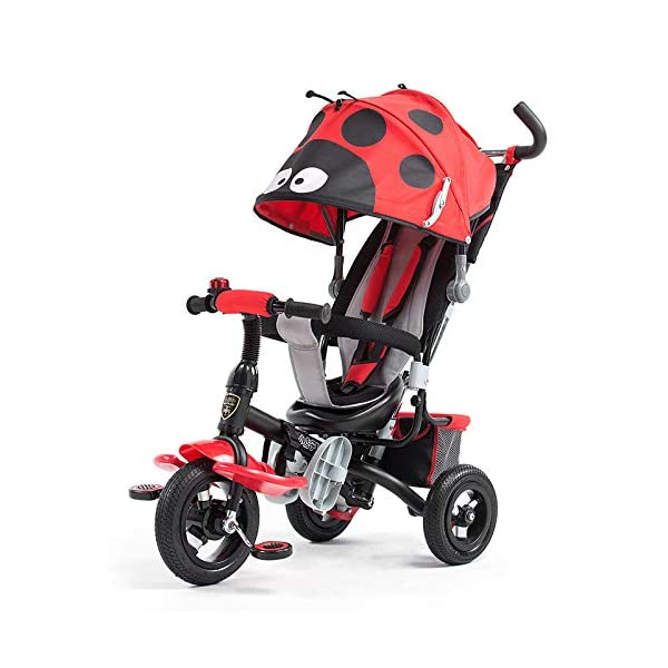 4 In 1 Childrens Tricycles 10 Months To 5 Years Easy To Assemble 3-Point Safety Belt Kids Tricycle Folding Sun Canopy Adjustable Handle Bar Blockable Rear Wheels Child Trike Maximum Weight 25 Kg,Red BGHKFF ★Material: steel + ABS plastic, suitable for children from 10 months to 5 years old, the maximum weight is 25 kg ★ 4 in 1 multi-function: can be converted into a stroller and a tricycle. Remove the hand putter and awning as a tricycle. ★Scientific design features: front footrest, rear storage basket, no need to inflate titanium empty wheel 1