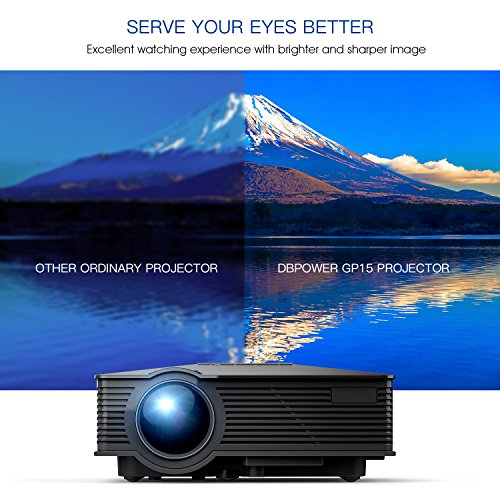 DBPOWER GP15 mini beamer, portable, 1800 lumen LED video projector, multimedia home theatre, LCD video beamer full HD supported, 1080P HDMI USB SD VGA AV for TV DVD consoles, games, iPad, Android black black Mini 20.8*16.8*7.8cm
