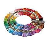 Demarkt 100 Docken Sticktwist Stickgarn 8m 6-fädig Multicolor farblich BUNT Basteln Set