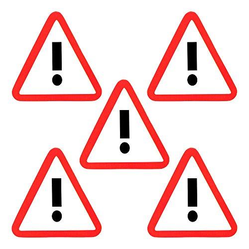 Hintergrund, Rote Umrandung (5 Ausrufezeichen Magnete 6 x 5 cm für Magnettafeln, Kühlschränke, Plantafeln und Whiteboards - Gefahr Vorsicht Verkehrszeichen Magnet.)