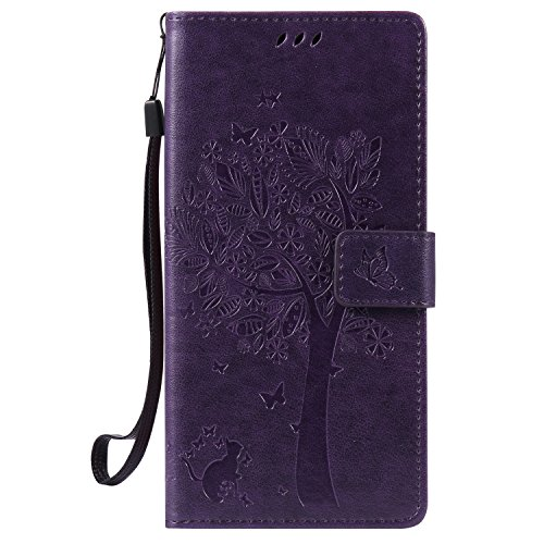 NEXCURIO Huawei/Google Nexus 6P Hülle Leder, Handyhülle Tasche Leder Flip Case Brieftasche Etui mit Kartenfach Stoßfest Kratzfest Schutzhülle für Huawei Nexus 6P - EKTU102602 Violett