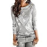 ESAILQ Damen Modisch Damen Shirt Kurzarm Revers Schlank Hemd Arbeit V-Ausschnitt mit Knöpfe(XL,Grau)
