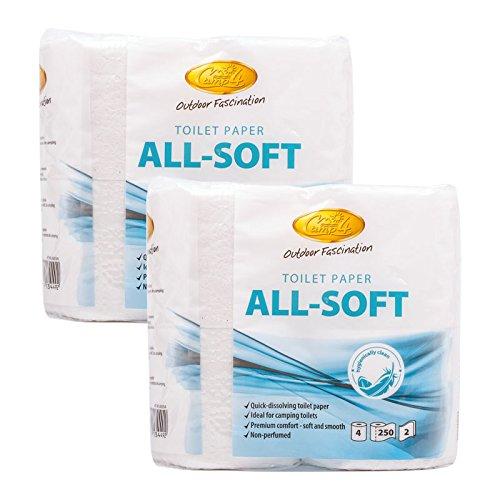 Camp 4 All Soft Toilettenpapier speziell für Campingtoiletten 8 Rollen, ideal für Wohnwagen und Wohnmobil
