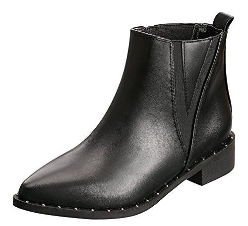 SANMIO Damenschuhe Stiefeletten, Schwarz Flach Leder Boots, Chelsea Knöchel Boots, Damen Combat Boots (EU 38) (Damen Schwarz Leder Stiefeletten)