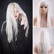 Pelucas Blanca Mujer Largas Lisas con Flequillo Pelo Se Ve Natural Peluca Sintética para Cosplay Disfraces