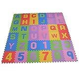 Sixflowers Puzzlematte 36 tlg. - Kinderspielteppich Spielmatte Spielteppich Schaumstoffmatte Matte ABC bunt