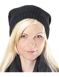 oversize Long Beanie Strick Mütze schwarz - Trendy Strickmütze, Damen Herren Strick Mütze unisex