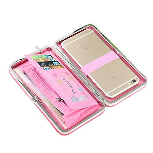 Frauen-Bowknot-Mappen-lange Geldbeutel-Telefon-Karten-Halter-Kupplungs-große Kapazitäts-Tasche Blauer Himmel Rosa