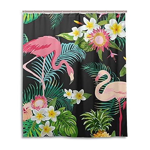 Bath Shower Curtain 60x72 Inch,Tropical Floral Flamingos,Mildew Proof Polyester Fabric Bathroom