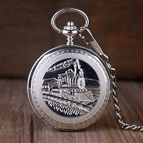 ERDING Taschenuhr,Silber Doppel Open Train Hunter Taschenuhr Mechanische Handaufzug Skeleton Uhren Männer Frauen Geschenk