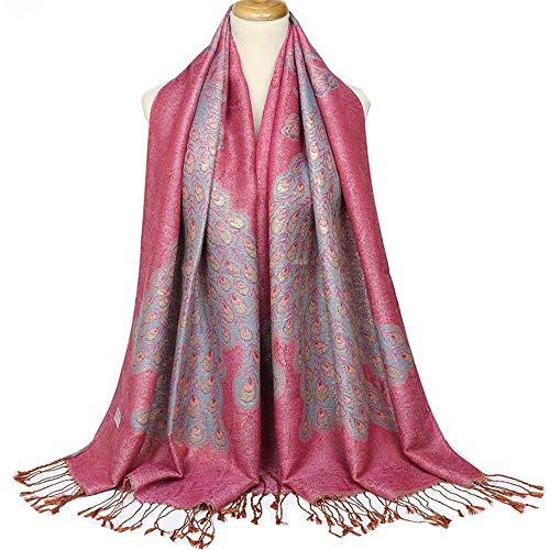 NSSBZZ Damen Schal Long Scarf Frauen Poncho Strickjacke Strickpullover Winter Der Cashmere Herbst Splicing Wraps Stola Halstücher Hot Pink Hot Pink Cashmere