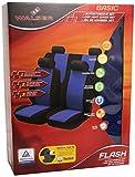 Walser 12472 Autositzbezug Flash blau schwarz Komplett Set, seitenairbagtauglich, TÜV geprüft mit KBA