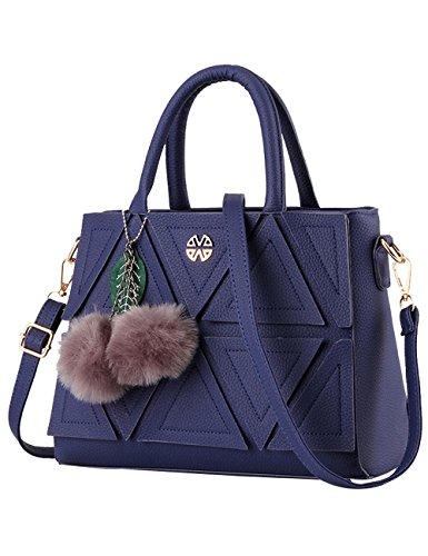 Menschwear Damen PU Handtaschen Damen Handtasche Schwarz Handtasche Schule Damen Handtaschen Dunkel-Blau