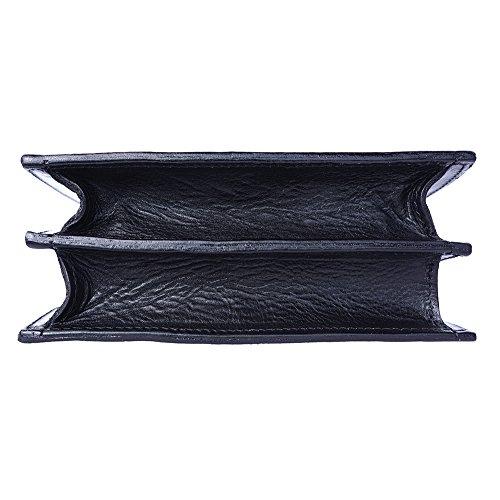 Sac à main pour femme semi-oval en cuir avec lanières incorporées 6881 Noir