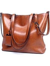 VECHOO Women's Handbag, Designer Leather-Synthetic Tote, Large Capacity Shopping Bags, Fashion Shoulder Bag, Vintage Top Handle Bag, Ladies Purse with Unique Tag
