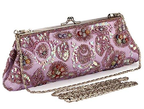 ERGEOB Damen Polyester Stickerei Abendtasche handgemachte Mode-Handtaschen grau 01 grau