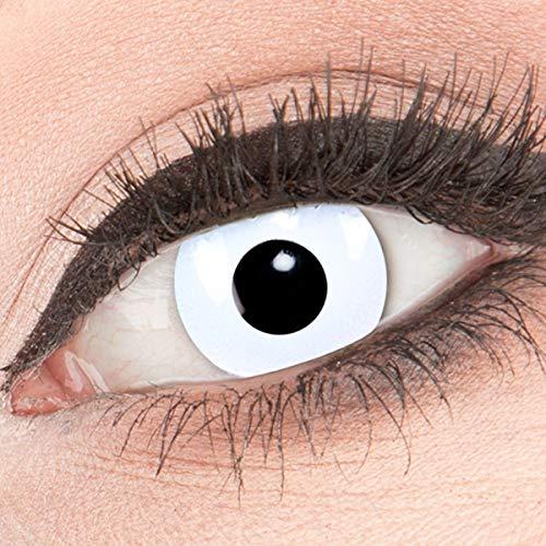 Funnylens 1 Paar farbige weisse weiße Crazy Fun white out Jahres Kontaktlinsen. perfekt zu Halloween, Fasching oder Fastnacht mit Kontaktlinsenbehälter ohne Stärke