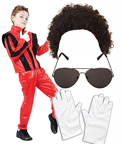 Boys Michael Jackson 80S Fancy Dress Costume With Wig Glasses Gloves Age 10-12 (Michael Jackson Perücke Kostüme)