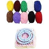 Paquete esencial de 8 piezas para fabricación de pompones en 4 tamaños, con 5 madejas de estambre de 25 gr, por Kurtzy TM