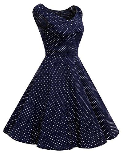 Bbonlinedress Damen Vintage Retro kurzes Kleid mit kleinem V-Ausschnitt  Navy White Dot
