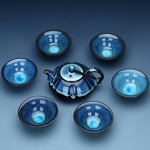 CY Kung Fu Tee-Set Tianmu Glasierte Emaille Brennofen Set Keramik-Paket Geschenkbox,EIN