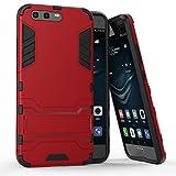 Funda para Huawei P10 Plus (5,5 Pulgadas) 2 en 1 Híbrida Rugged Armor Case Choque Absorción Protección Dual Layer Bumper Carcasa con pata de Cabra (Rojo)