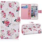 Sinbury - PU Leather Wallet Stand Flip Case Cover for iPhone 5 / 5S / SE - Beautiful Flowers