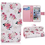 Sinbury®Fashion PU Leather Wallet Stand Flip Case Cover for Apple iPhone 5 / 5S - Beautiful Flowers