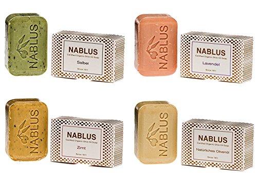 Nablus Soap natürliche Olivenölseife 4er Set (4 x 100g) Natürliches Olivenöl Lavendel Salbei Zimt, handgemacht, für trockene sensible Haut, aus 80% extra nativem Olivenöl