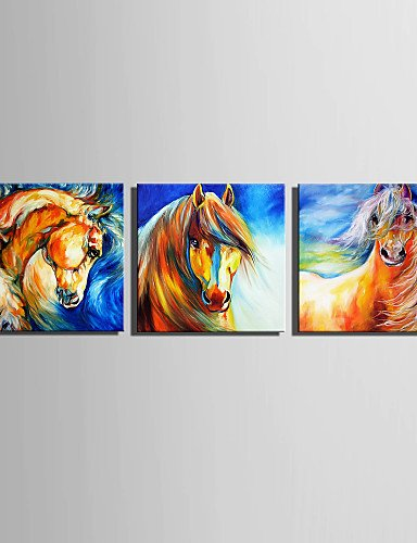 "Price comparison product image ANNA&JOE E-HOME Stretched Canvas Art Brown Horse Decoration Painting Set of 3 ,  include inner frame-16"" x 16"" ,  include inner frame-16"" x 16"""