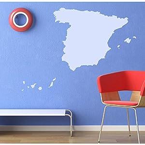 azutura Mapa de España Vinilos Educativo Pegatina Decorativos Pared Oficina escolar Decoración del hogar disponible en 5 tamaños y 25 colores Mediano Basalto Gris