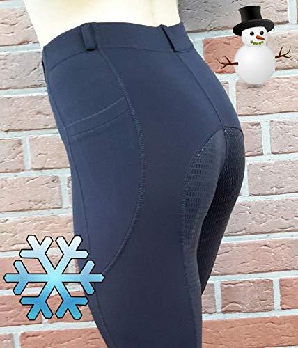 APM-TEC Winter Thermo Reitleggings Reithose Silikon Vollbesatz XL/40 schwarz