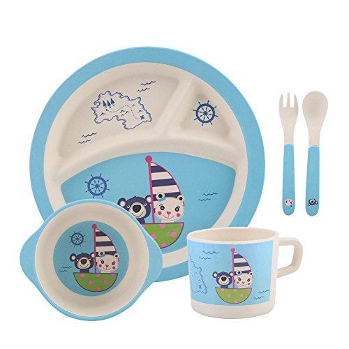 Zerodis 5Pcs/Set Kinder Geschirr Set Bunte Bambusfaser Cartoon Essen Platte Schüssel Löffel Gabel Tasse Ungiftig für Kleinkinder(#2)