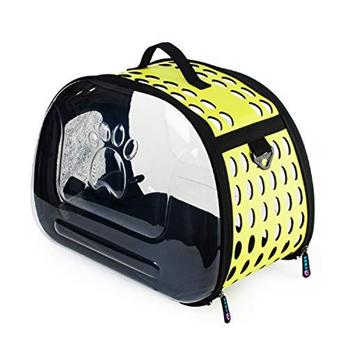 JYMDH Wasserdichter Kunststoff-Pet-Träger Leicht Erweiterbar Faltbare Transpancy Cat Carrier/Cat Trage Gehäuse,Yellow (Kunststoff-pet-träger)