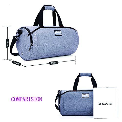 Neun CIF Herren Damen Exercise Bucket Bag Duffle Reisetasche mit Schuhe Tasche Grau
