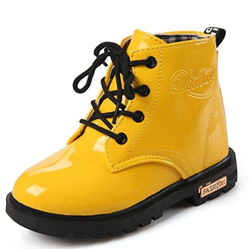ukStore Mädchen Jungen Martin Stiefel Wasserdicht Kurz Schlupfstiefel Winter Kinder Schuhe Schnür Ankle Boots Baby Gummistiefel, Gelb 33 (Kurze Gelb Jungen)