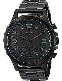 FOSSIL Q Nate / Montre connectée hybride pour homme - Smartwatch sport en acier inoxydable noir - Compatibilité iOS & Android - Boîte et pile incluses