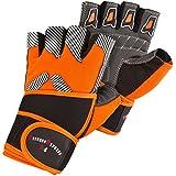 Trainingshandschuhe m. Bandage S-XXL Fitnesshandschuhe schwarz/orange gestreift